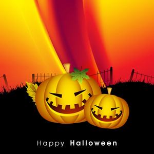 Banner Or Background For Halloween Party Night With Scary Pumpkins On Shiny Wave Background.