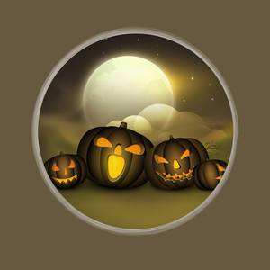 Banner Or Background For Halloween Party Night With Scary Pumpkins.