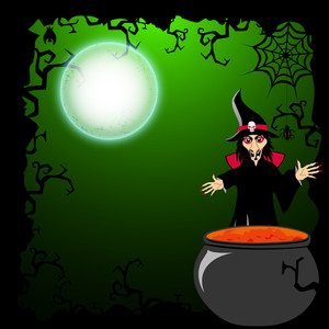 Banner Or Background For Halloween Party Night With Scary Witch.