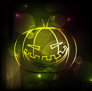 Banner Or Background For Halloween Party Night With Shiny Pumpkin.