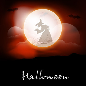 Banner Or Background For Halloween Party Night With Silhouette Of A Witch In A Moon On Red Background.