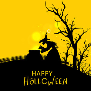 Banner Or Background For Halloween Party Night With Silhouette Of A  Witch On Yellow Background.