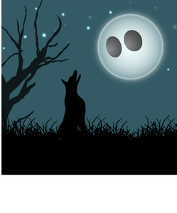 Banner Or Background For Halloween Party Night With Silhouette Of A Wolf On Spooky Night Background.