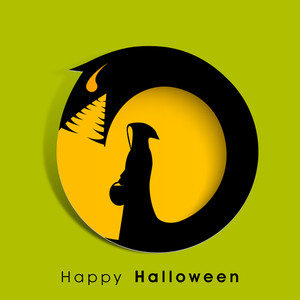 Banner Or Background For Halloween Party Night With Silhouette Of Ghost And Dragon On Green Background.