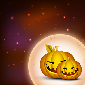 Banner Or Background For Halloween Party Night With Smily Pumpkin On Bright Brown Background.