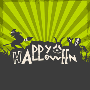 Banner Or Background For Halloween Party Night With Stylish Text On Green Rays Background..