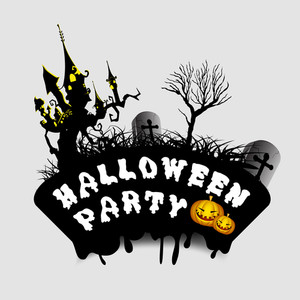 Banner Or Background For Halloween Party Night With Stylish Text