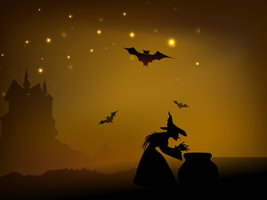 Banner Or Background For Halloween Party Night With Witch And Pot On Shiny Brown Background.