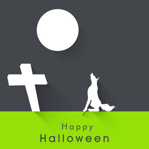Banner Or Background For Halloween Party Night With Wolf On Green And Grey Background.