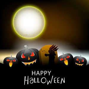 Banner Or Background For Halloween Party Spooky Night Background With Scary Pumpkins.
