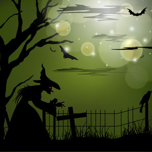 Banner Or Background For Halloween Party Spooky Night Concept.