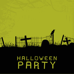 Banner Or Background For Halloween Party Spooky Night On Green And Black Background.