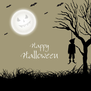 Banner Or Background For Halloween Party Spooky Night With A Hanging Dead Body From Dry Tree.