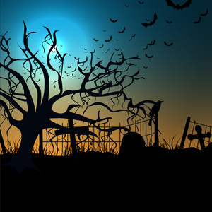 Banner Or Background For Halloween Party Spooky Night With Dead Tree.