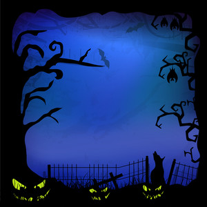 Banner Or Background For Halloween Party Spooky Night With Deadtree.