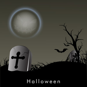 Banner Or Background For Halloween Party Spooky Night With Grave Stone.