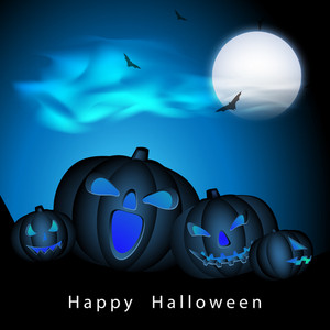 Banner Or Background For Halloween Party Spooky Night With Pumpkins On Blue.