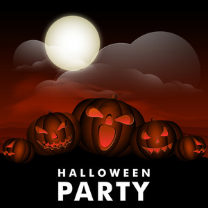 Banner Or Background For Halloween Party Spooky Night With Scary Pumpkin On Night Background.