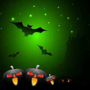 Banner Or Background For Halloween Party Spooky Night With Scary Pumpkins On Green.