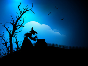 Banner Or Background For Halloween Party Spooky Night With Witch.