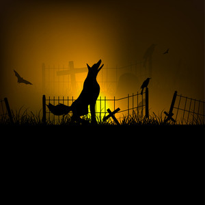 Banner Or Background For Halloween Party Spooky Night With Wolf.