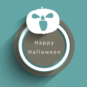 Banner Or Background For Halloween Party Sticker With  Pumpkin On Green Background.