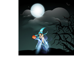 Banner Or Background For Halloween Party With Beautiful Witch On Spooky Night Background.