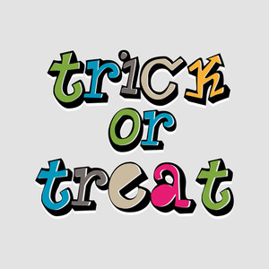 Banner Or Background For Halloween Party With Colorful Text On Grey Background.