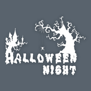 Banner Or Background For Halloween Party With Dead Tree On Grey Background.