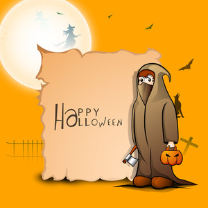 Banner Or Background For Halloween Party With Ghost On Orange Background.