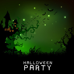 Banner Or Background For Halloween Party With Haunted House On Night Background.