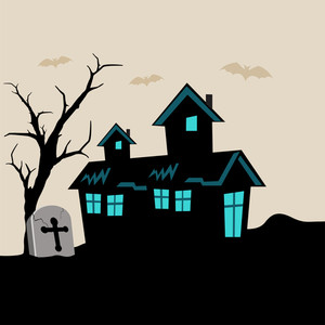 Banner Or Background For Halloween Party  With Haunted House On Spooky Night Background.