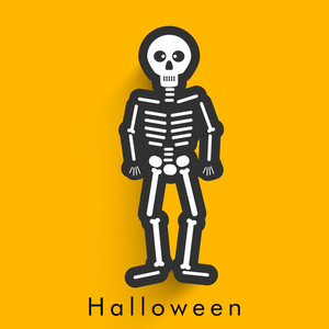 Banner Or Background For Halloween Party With  Illsutration Of A Ghost On Yellow Background.