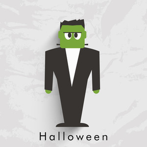 Banner Or Background For Halloween Party With Illustration F A Zombie On Grungy Grey Background.
