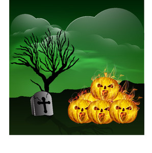 Banner Or Background For Halloween Party With Pumpkins Ion Spooky Night Background.