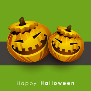 Banner Or Background For Halloween Party With Pumpkins On Green And Grey Background.