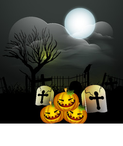 Banner Or Background For Halloween Party With Pumpkins On Night Background.