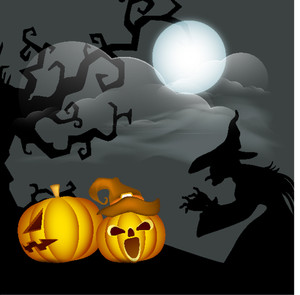 Banner Or Background For Halloween Party With Sacry Pumpkins And Witch On Night Background.