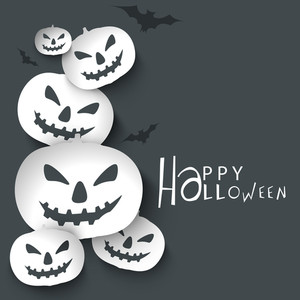 Banner Or Background For Halloween Party With Sacry Pumpkins On Grey Background.