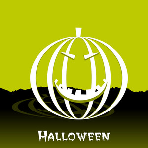 Banner Or Background For Halloween Party With Scary Pumpkin On Green Background.
