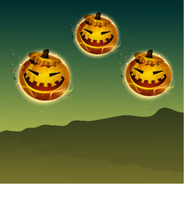 Banner Or Background For Halloween Party With Scary Pumpkin On Green Night Background.