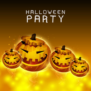 Banner Or Background For Halloween Party With Scary Pumpkins On Shiny Brown Background.