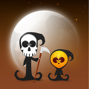 Banner Or Background For Halloween Party  With Skull On Shiny Night Background.