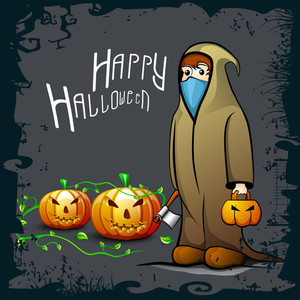 Banner Or Background For Halloween Party With Zombie And Pumpkins On Grungy Grey Background.