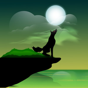 Banner Or Background For Halloween Party Wolf  On Night Background.
