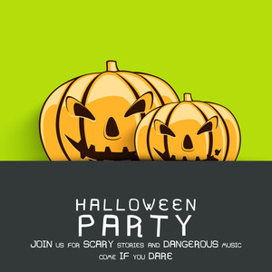 Banner Or Flyer For Halloween Party Night With Angry Pumpkins On Green And Grey Background.