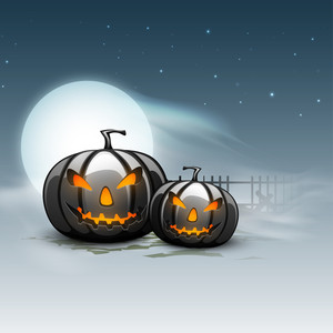 Banner Or Flyer For Halloween Party Night With Angry Pumpkins On Night Background.