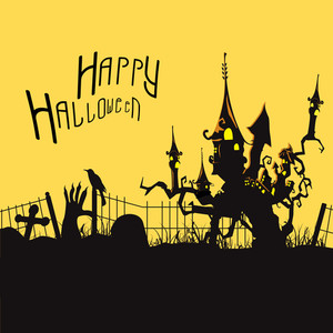 Banner Or Flyer For Halloween Party Night With Haunted House On A Tree On Yellow And Black Background.