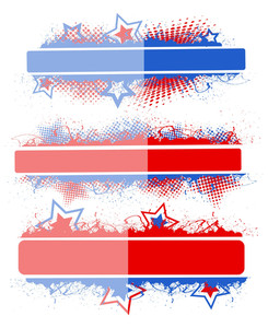 Banner Set Patriotic Usa Theme Vector