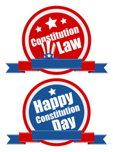 Banner Shield  Constitution Day Vector Illustration